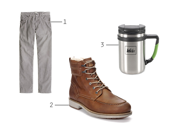 cords boots and mug
